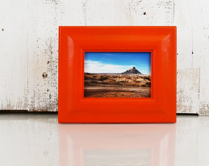"5x7"" Picture Frame in Classy Style with Solid Deep Orange Finish - IN STOCK - Same Day Shipping - 5 x 7 Photo Frame Orange Decorative"