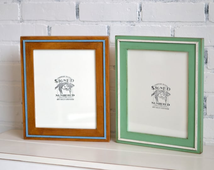 8x10 Picture Frame in Wood Wedge Style and VINTAGE Color Combination of YOUR CHOICE - Cottage Chic 8x10 Photo Frame