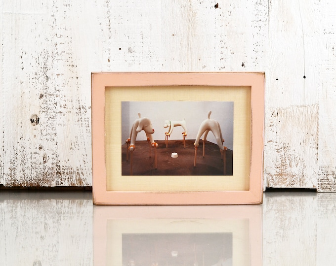 6x8 inch Picture Frame in Peewee Style with Super Vintage Coral Finish - IN STOCK - Same Day Shipping - 6 x 8 Thin Wood Photo Frame