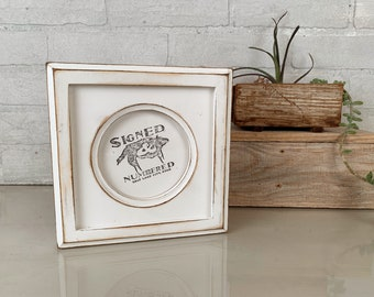 4x4 Circle Opening Picture Frame with Super Vintage White Finish and Build up Edge - IN STOCK - Same Day Shipping - 4 x 4 Round White