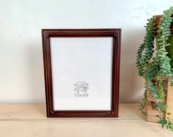 8x10 Picture Frame - SHIPS TODAY - 1x1 Double Cove Style with Vintage Mahogany Finish - In Stock - Rustic Solid Wood Frame 8 x 10