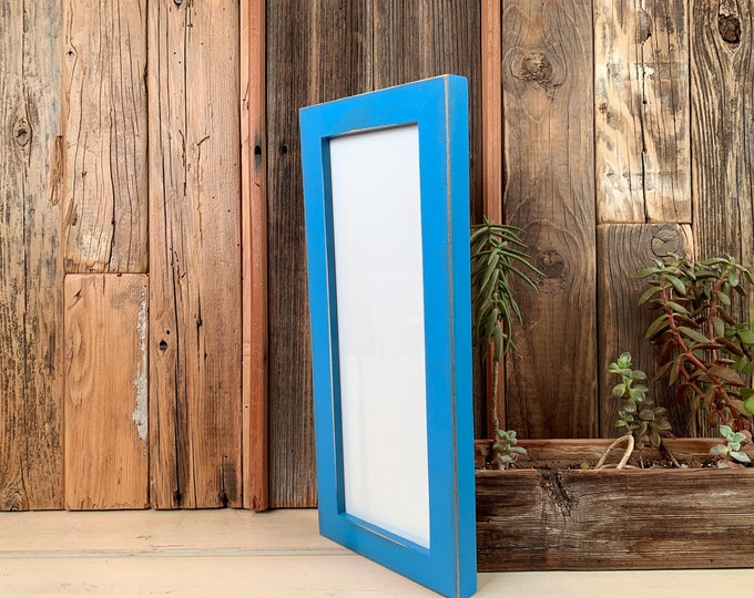 """4x12"""" Picture Frame in 1x1 Flat Style with Vintage Cobalt Blue Finish - IN STOCK - Same Day Shipping - 12 x 4 Panoramic Photo Frame"""