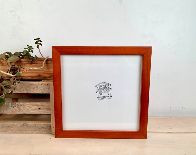 """10x10"""" Picture Frame - SHIPS TODAY - 1x1 Flat Style with Vintage Wood Tone Finish - In Stock - Handmade 10x10 Frame"""