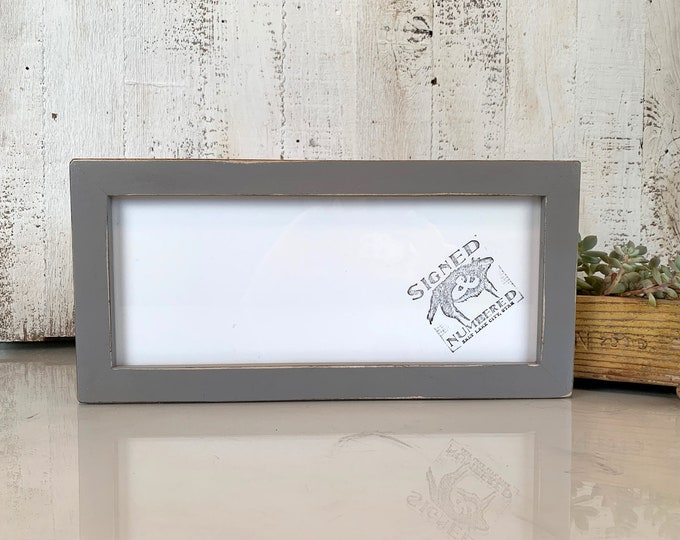 """5x12"""" Panoramic Picture Frame 1x1 Flat Style with Vintage Grey Finish - IN STOCK - Same Day Shipping - 5 x 12 Picture Frames Gray"""