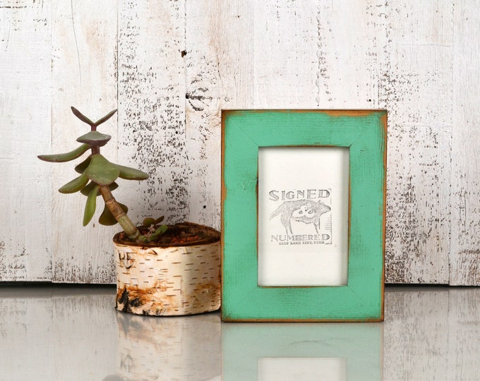 """4x6 Picture Frame 1.5"""" Reclaimed Cedar Wood with Super Vintage Robin's Egg Finish - IN STOCK Same Day Shipping - 4 x 6 Rustic Frame"""