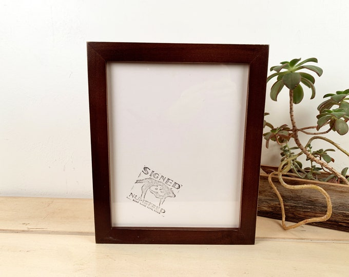 8x10 Picture Frame in 1x1 Flat Style with Vintage Dark Wood Tone Finish - IN STOCK - Same Day Shipping - Modern Frame 8 x 10