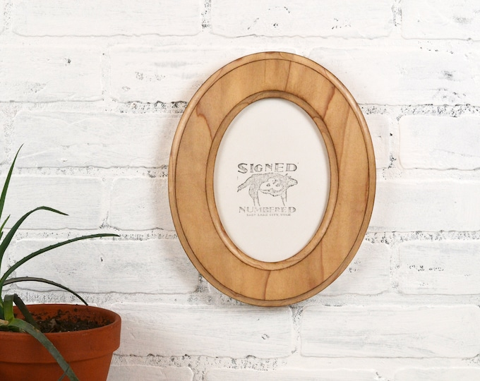 5x7 Oval Opening Picture Frame Oval Shaped Outside with Vintage Natural Poplar Finish - Solid Poplar Wood 5 x 7 - IN STOCK Same Day Shipping