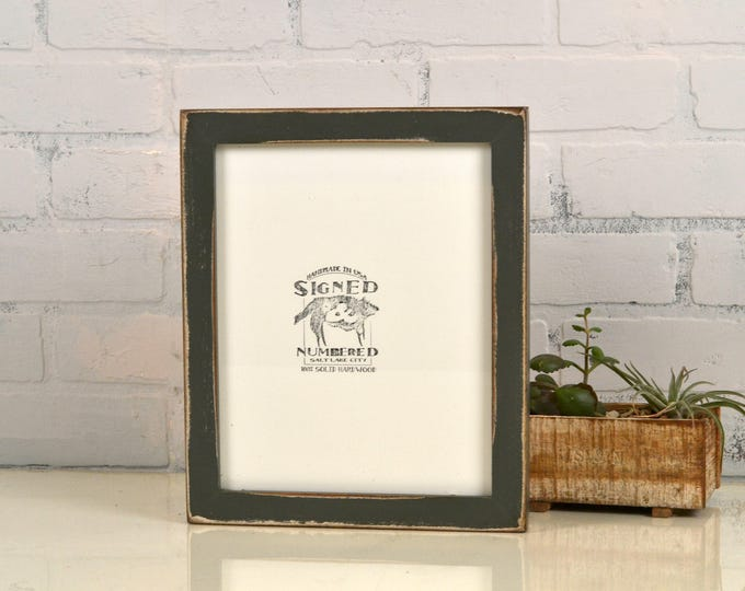8x10 Picture Frame in 1x1 Flat Style with Vintage Sable Gray Finish - IN STOCK - Same Day Shipping - Rustic Solid Wood Frame 8 x 10