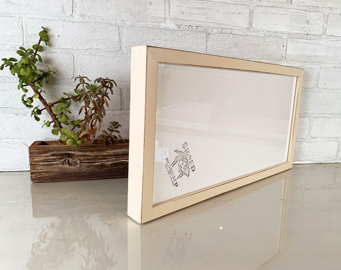 """9x18"""" Picture Frame in Deep Flat Style with Vintage Ivory Finish - IN STOCK - Same Day Shipping - 18x9"""" Panoramic Photo Frame"""