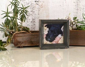 """4x4"""" Square Picture Frame in Park Slope Style with Super Vintage Sable Finish - IN STOCK - Same Day Shipping - Handmade 4 x 4 Frame Gray"""