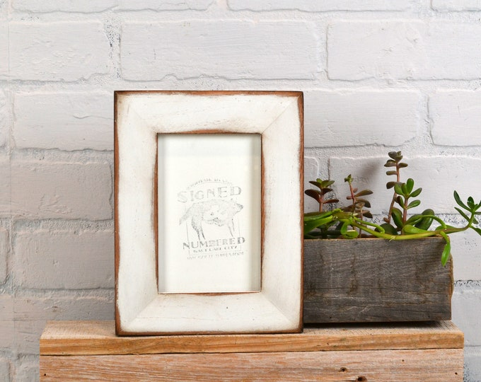 """4x6 Picture Frame in 1.5"""" Standard Style on Oak with Super Vintage White Finish - IN STOCK - Same Day Shipping - SALE 4 x 6 Photo Frame"""