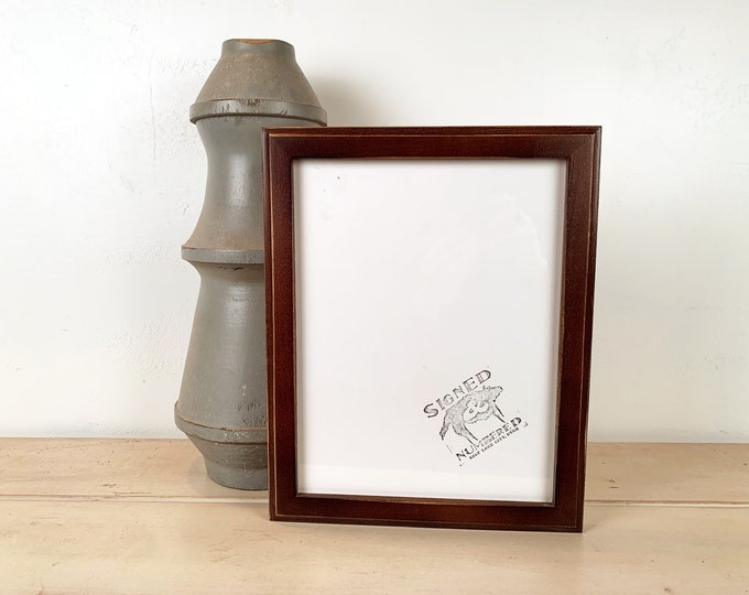 8.5 x 11 Picture Frame in 1x1 Outside Cove Style with Vintage Dark Wood Tone Finish - IN STOCK Same Day Shipping - 8.5x11 inch Picture Frame