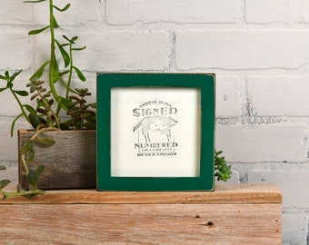 """5x5 inch Square Picture Frame in Deep Flat Style with Vintage Peacock Green Finish - IN STOCK - Same Day Shipping - 5 x 5"""" Modern Frame"""