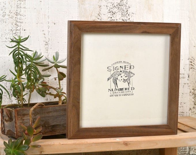 8x8 Square Picture Frame in 1x1 Outside Cove Style with Natural Walnut Finish - In Stock Same Day Shipping - 8 x 8 Photo Frame Rustic