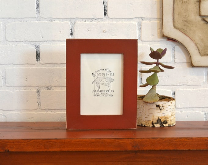 "5x7"" Picture Frame in 1.5 Standard Style with Vintage Brick Red Finish - IN STOCK - Same Day Shipping - 5 x 7 Photo Frame Rustic Colorful"