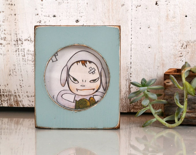 4x4 Pine Circle Opening Picture Frame in Vintage Homestead Green - IN STOCK - Same Day Shipping - 4 x 4 inch Circle Round Picture Frame