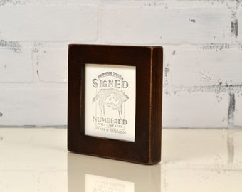 4x4 Square Photo Picture Frame in 1x1 Flat Style with Vintage Dark Wood Tone Finish - IN STOCK -  Same Day Shipping - 4x4 Picture Frame