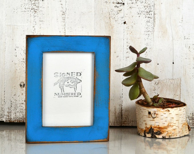 5x7 Picture Frame in Reclaimed Cedar with Super Vintage Cobalt Blue Finish - IN STOCK Same Day Shipping - Upcycled Wood Frame 5 x 7