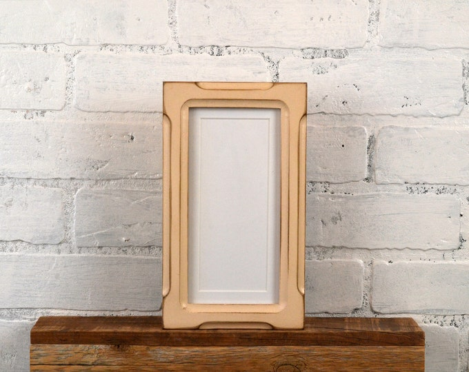 """4x8 Picture Frame for 2x6"""" Photo Booth Strip in 1x1 Shallow Bones Style with Vintage Ivory Finish - IN STOCK - Same Day Shipping"""