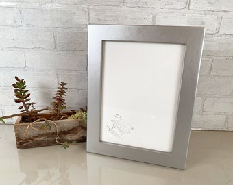 """8.25 x 11.5"""" Picture Frame - SHIPS TODAY - 1.5 Standard Style with Solid Silver Finish - In Stock - Handmade odd sized  Picture Frame"""