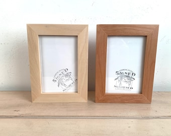 4x6 Picture Frame - BEST SELLER - 1x1 Flat Style in Solid Natural Poplar or Alder Finish - In Stock - mid century decor 4 x 6 Photo Frame