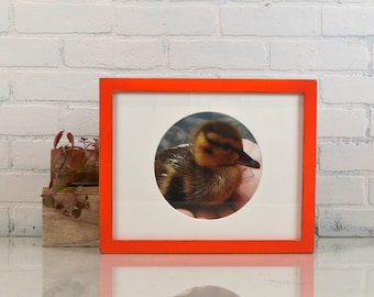 """11x14"""" Picture Frame in 1x1 Flat Style with Vintage Deep Orange Finish - IN STOCK - Same Day Shipping - Handmade 11 x 14 Solid Hardwood"""