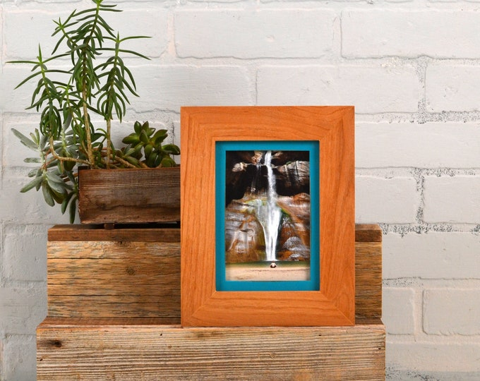 4x6 Picture Frame in Natural Alder Build Down Style with Vintage Turquoise Finish - IN STOCK - Same Day Shipping - 4 x 6 Photo Frame