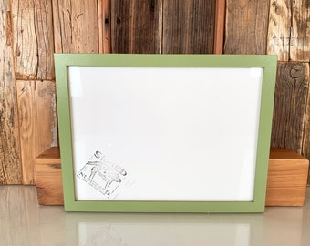 9x12 Picture Frame in Peewee Style with Solid Guacamole Green Finish - IN STOCK Same Day Shipping - Handmade Frame 9 x 12 inch size