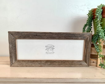 """5x15"""" Picture Frame - SHIPS TODAY - 1.5 Rustic Reclaimed Natural Cedar Wood - In Stock - 15 x 5 Panoramic Photo Frame"""