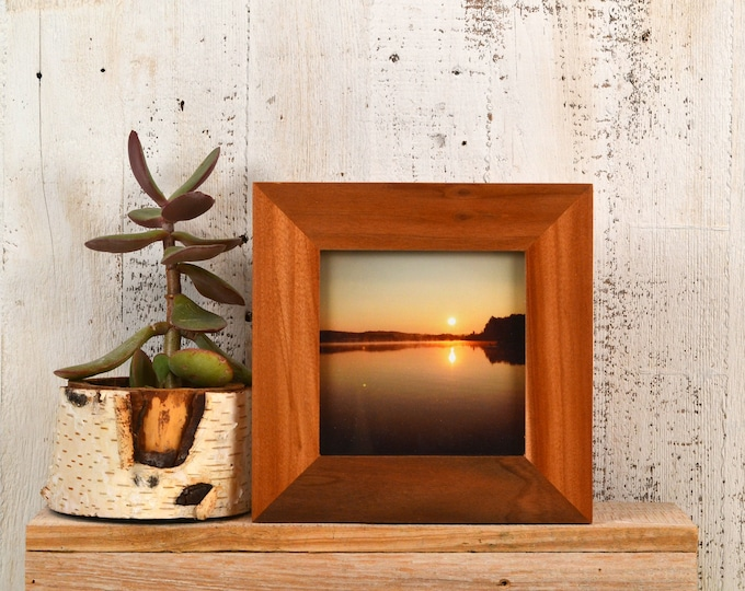 """5x5"""" Picture Frame Natural WILLOW wood in 1.5 Standard Style - IN STOCK - Same Day Shipping - 5 x 5 Gift Frame Solid Hardwood"""