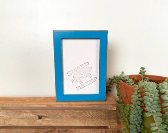 """4x6"""" Picture frame in Peewee Style with Vintage Cobalt Blue Finish - IN STOCK - Same Day Shipping - Photo Frame 4 x 6 Photo Frame Blue"""