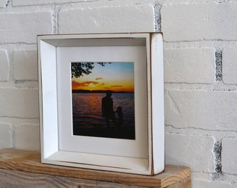 """7x7"""" Square Picture Frame in Park Slope Style with Vintage White Finish - IN STOCK - Same Day Shipping - 7x7 Photo Frame"""