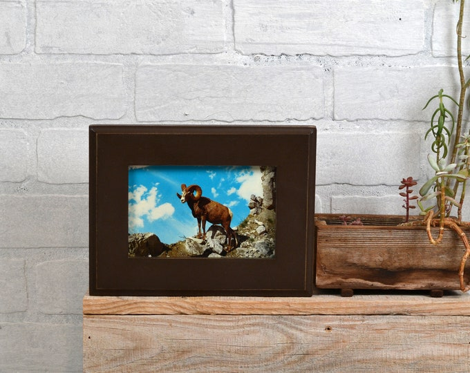 4x6 Picture Frame in Outside Cove Style with Vintage Chocolate Finish - IN STOCK - Same Day Shipping - SALE 4 x 6 Photo Frame Modern Brown