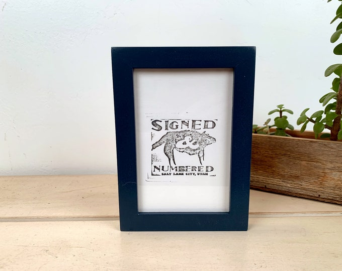 """4x6"""" Picture frame in Peewee Style with Solid Navy Blue Finish - IN STOCK - Same Day Shipping - Photo Frame 4 x 6 Photo Frame Blue"""