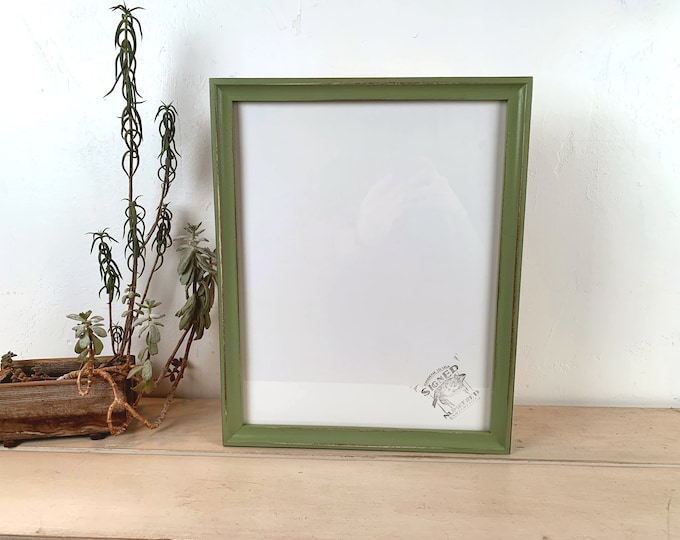 "Handmade 11x14"" Picture Frame in Foxy Cove style with Vintage Guacamole Green Finish - In Stock - Same Day Shipping - 11 x 14 Handmade Frame"