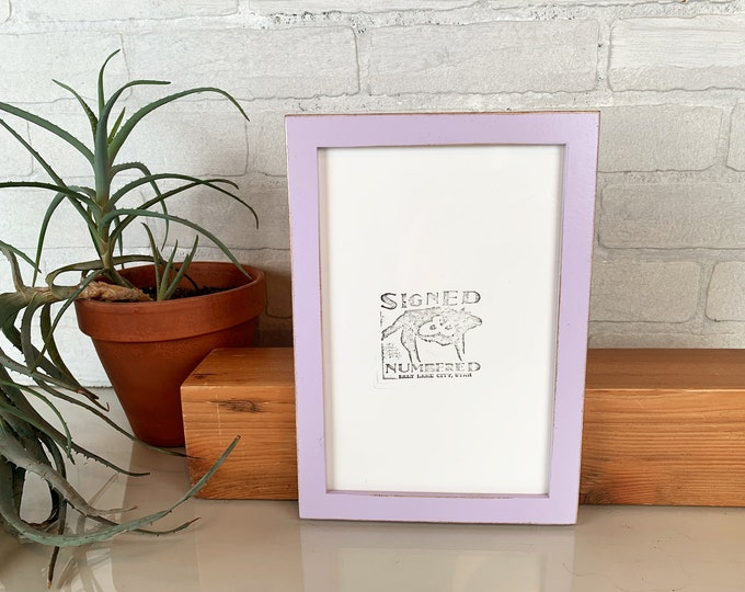 "6x9"" Picture Frame in Peewee Style with Vintage Lilac Finish - IN STOCK - Same Day Shipping - 6 x 9 inch Picture Frames - Lavender Frame"