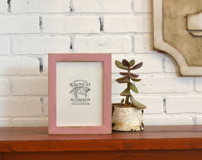 6x8 inch Solid Wood Picture Frame in 1x1 Flat Style with Super Vintage Rose Pink Finish - IN STOCK - Same Day Shipping - 6 x 8 Sale Frame