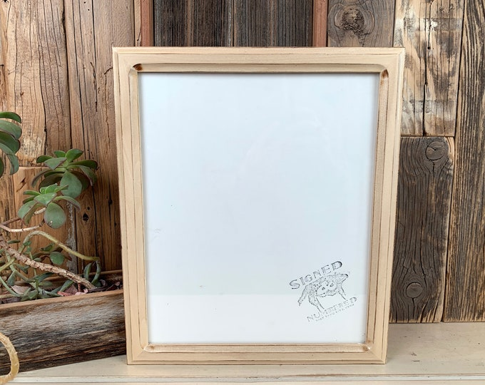 10x12 Picture Frame in 1x1 Double Cove style with Burnished Natural Poplar Finish - IN STOCK - Same Day Shipping 10 x 12 inch Wood Frame