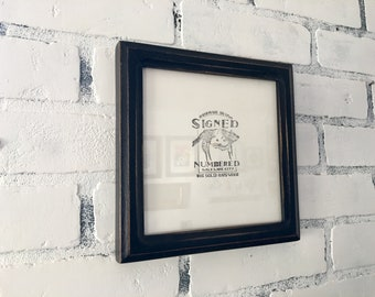 "7x7"" Square Picture Frame in Double Cove Style with Vintage Black Finish - IN STOCK - Same Day Shipping - 7x7 Photo Frame Rustic Black"