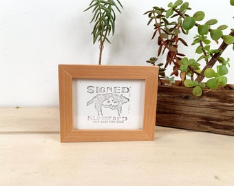 3.5x4.5 Picture Frame in Peewee Style with Solid Natural Alder finish - In Stock - Same Day Shipping - Unique Picture Frame 3.5 x 4.5 inches