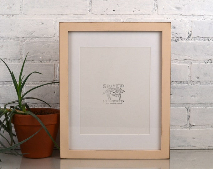 """11x14"""" Picture Frame in 1x1 Flat Style with Vintage Ivory Finish - IN STOCK - Same Day Shipping - Handmade 11 x 14 Solid Hardwood"""