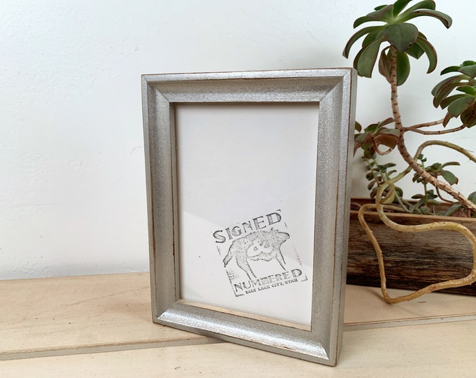 5x7 Picture Frame in Foxy Cove Style with Vintage Silver Finish - IN STOCK - Same Day Shipping - 5 x 7 Frame Solid Hardwood Metallic
