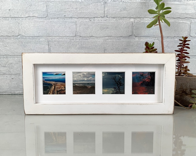 """4x12"""" Picture Frame in 1x1 Flat Style with Vintage White Finish - IN STOCK - Same Day Shipping - 12 x 4 Panoramic Photo Frame"""