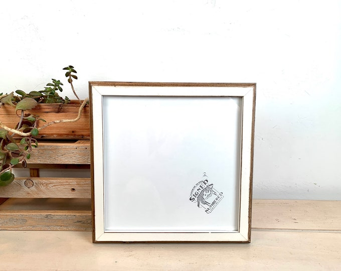 """10x10"""" Picture Frame - SHIPS TODAY - 1x1 2-Tone Style with Vintage White Finish - In Stock - Handmade 10x10 Rustic White Square Frames"""