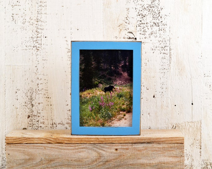 """5x7"""" Picture Frame in PeeWee Style with Vintage Blue Finish - Same Day Shipping - IN STOCK - Gallery Frame 5 x 7 Blue"""