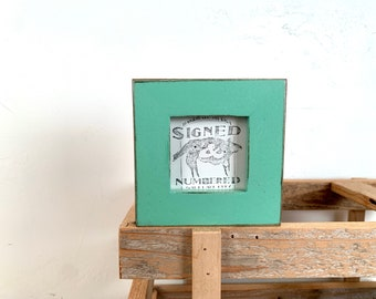 2.5x2.5 inch Square Picture Frame - SHIPS TODAY - 1x1 Flat style with Vintage Robin's Egg Finish - Exact View 2 x 2 Photo Frame - In Stock