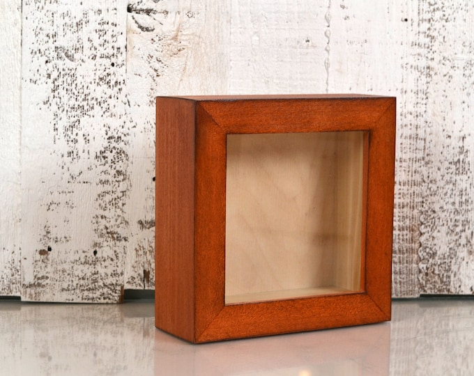 "Small Shadow Box Frame - Holds up to 4.5 x 4.5 x 1.25"" Deep - Solid Wood Tone Finish - IN STOCK - Same Day Shipping 4x4 Display Box"