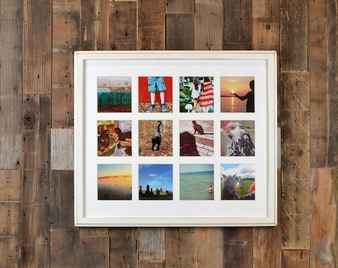 "19.25 x 16.5"" Picture Frame in 1x1 Outside Cove Style w/ Mat Windows for (12) 4x4 Photos in COLOR of YOUR CHOICE - Includes Plexiglass"