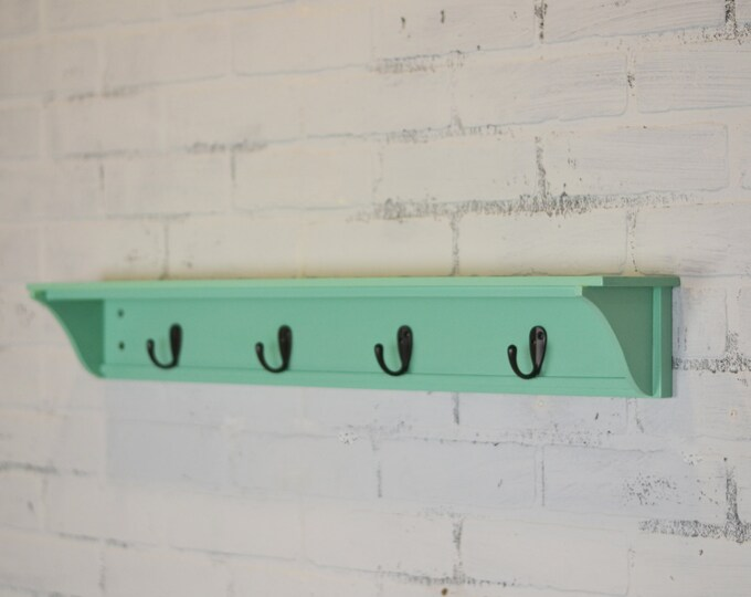 Handmade 30-inch Long One Level Coat Rack - Wall Shelf in Color OF YOUR CHOICE - Wooden Wall Mounted Shelf with Hooks - Can Be Customized