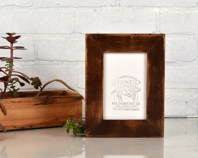 "4x6 Picture Frame 1.5"" Reclaimed Cedar Wood with Super Vintage Dark Wood Tone Finish - IN STOCK Same Day Shipping - 4 x 6 Rustic Frame"